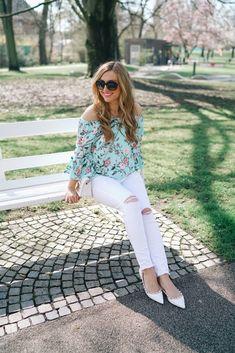 Eine weiße Jeans und mehere Looks