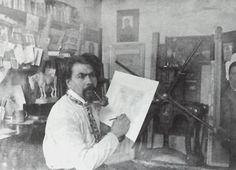 Jan Toorop, Jan Toorop in his studio in Katwijk aan Zee - 1902