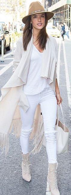 Alessandra Ambrosio: Shirt – L'agence  Purse – Celine  Sweater – The Perfext Bushwick  Hat – Ale Alessandra