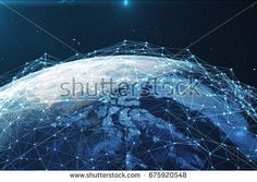 3D rendering Network and data exchange over planet earth in space. Connection lines Around Earth Globe. Global International Connectivity, Elements of this image furnished by NASA