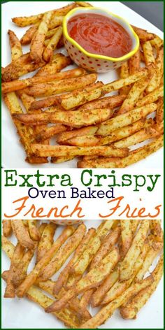Extra Crispy Oven Baked French Fries – Miss Frugal Mommy Oven Baked French Fries, Crispy Oven Fries, Fries In The Oven, Recipe For Crispy French Fries, French Fries Recipe Baked, Baked Potato Fries, Baked Fries Healthy, Dirty Fries Recipe, Crispy Fries Recipe