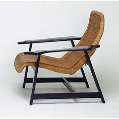 Willy Guhl; Lacquered Wood and Wicker Lounge Chair, 1948.