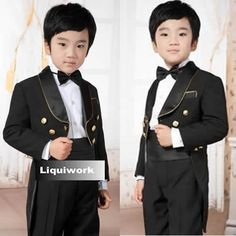 5 Piece Black Double Breasted Wedding Dress Tail Suit Tuxedo for Boys SKU-132125