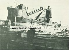 Bucket Dredger Hope, The bucket dredger Hope seen here hauled out for repairs clearly showing the loop of buckets with the wheel they went round on the lower left of her Old Photos, United Kingdom, Bucket, River, Antique Photos, Old Pictures, Vintage Photos, Buckets, England