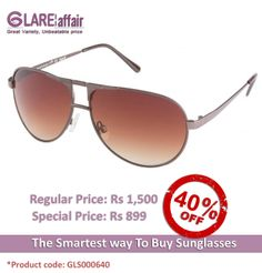 Farenheit FA-972 Brown Brown Gradient Aviator Sunglasses http://www.glareaffair.com/sunglasses/farenheit-fa-972-brown-brown-gradient-aviator-sunglasses.html  Brand : Farenheit  Regular Price: Rs1,500 Special Price: Rs899  Discount : Rs601 (40%)