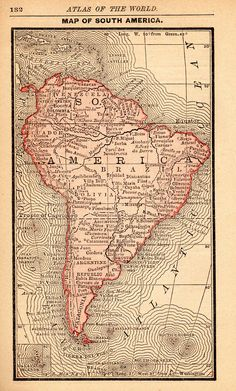1888 RARE Size Antique South AMERICA Map of South America Print MINIATURE Map Collector Gift for Birthday Graduation Wedding 7314 Old World Maps, Antique World Map, Antique Maps, Old Maps, Vintage World Maps, South America Map, Italy Map, Backpacking South America, Map Globe