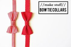 Valentine Bow Tie Dog Collar - A lovely little Valentine's Day craft for your dog. A fun sewing pattern for beginners.