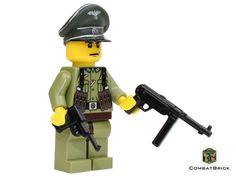 WWII German Officer in field green uniform with Walther Lego Army, Lego Military, Awesome Lego, Cool Lego, Legos, Lego Soldiers, Lego Minifigs, Lego Worlds, Custom Lego