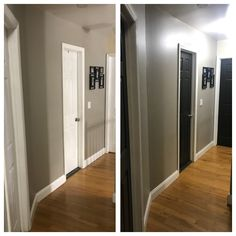 Hallway doors painted black using Behr Black Mocha and walls painted with Behr Perfect Taupe.Love the outcome! Taupe Paint, Taupe Walls, Painted Doors, Wood Doors, Perfect Taupe Behr, Murs Taupe, Black Hallway, Hallway Paint Colors, Dark Doors