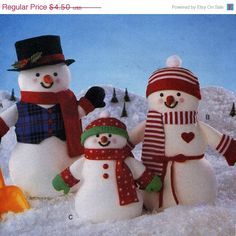 On Sale Butterick 4120 UNCUT Snowman Family Craft by RomasMaison, $3.60