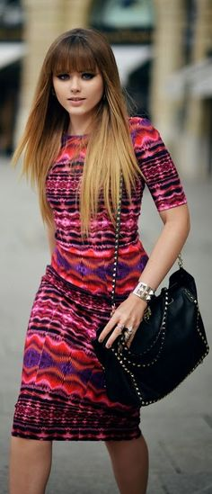 I love this girl's hair. Going to grow mine out and get this done :) the dress is cute too.