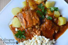 Żeberka duszone w sosie własnym - przepis od KulinarnePrzeboje Polish Recipes, Polish Food, Wok, Tandoori Chicken, Curry, Menu, Ethnic Recipes, Roast, Essen