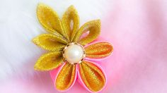 DIY: Kanzashi ribbon brooch/ hair clip