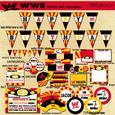 PRINTABLE Wrestling Party Package Includes Ticket Style