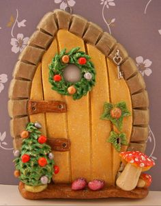 One of my salt dough fairy doors. Please visit www.facebook.com/...