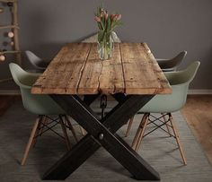 Dining table made of scaffolding planks, solid wood, industrial design, solid wood table, steel … – diy Interior design Shabby Chic Interiors, Shabby Chic Living Room, Shabby Chic Furniture, Diy Furniture, Coaster Furniture, Painting Furniture, Vintage Furniture, Bedroom Furniture, Diy Esstisch