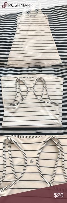 Lululemon Striped Cool Racerback size 6 cream gray Beautiful Cool Racerback tank in size 6 excellent condition lululemon athletica Tops Tank Tops