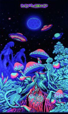 Psychedelic Art UFO Mushroom UV Fluorescent Print Fabric Backdrop Banner Deco #Psychedelic