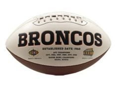 NFL Denver Broncos Signature Series Team Full Size Footballs by The License Products Company. $24.04. Team championship history listed on the back. Signature Series football. Embroidered team logo on the front. 3 smooth white panels for ample autograph signing space. Includes an autograph pen. The classic NFL Signature Series team football from K2 features a full color embroidered team logo prominently displayed on the front and team championship history listed ...