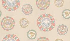 Clarice (211109) - Sanderson Wallpapers - A beautiful design showing patterned plates on a plain background - all in soft chalky shades - echoing the style of the Bloomsbury artists. Shown in rose/aqua.  Other colours available. Please request a sample for true colour match and effect.