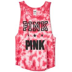 Victoria's Secret PINK Americana Boyfriend Tank ($27) ❤ liked on Polyvore featuring tops, shirts, tank tops, pink, pink tank, crew shirt, slouchy shirt, graphic tank tops and red shirt