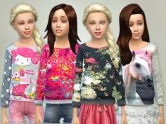 The Sims Resource: Printed Sweatshirt for Girls P05 by lillka • Sims 4 Downloads