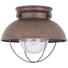 """Outdoor flush mount with a metal cage design and seeded glass shade.   Product: Flush mount Construction Material: Metal and seeded glass   Color: Weathered copper and clear  Features: Classic caged design      Accommodates: (1) 100 Watt medium base bulb - not includedDimensions: 9.25"""" H x 11.25"""" Diameter"""