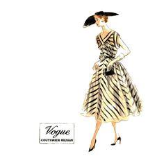1950s Vogue Couturier Evening Dress Design 687 by JFerrariDesigns, $125.00