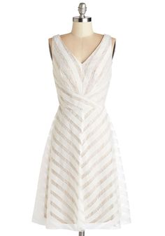 All Bets on You Dress - White, Stripes, Lace, Special Occasion, Prom, A-line, Best, V Neck, Graduation, Sleeveless, Wedding, Bride, Long