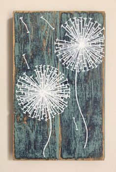 Dandelion Duo Farmhouse Distressed Wood Painting BlueTeal &