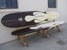 repurposed surfboards as a bench