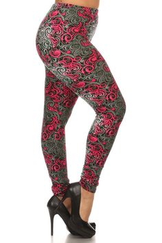 Plus Size Pink Swirl Print Leggings