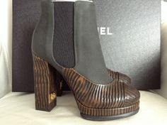 FALL 2014 CHANEL CC LOGO BLACK NUBUCK LEATHER/BROWN WOODEN PRINT PULL-ON BOOTIES — Miami Lux Boutique Black Booties, Ankle Booties, Bootie Boots, Logo Chanel, Chanel Chanel, Chanel Boots, Thick Heels, Black Platform, Chanel Black