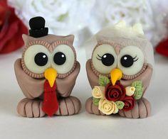 Owl vintage wedding cake topper, garnet crimson wedding, custom cake topper, birdcage veil on Etsy, $70.00