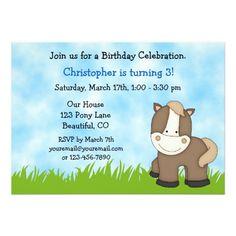 Pony Birthday Invitation for Boys