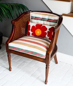 """Here is another """"bookmarkable"""" How-To step-bystep project from our DIY expert, Shelly... Click on the Thumbnails to View All Photos Project: French Tuft a Cane Back Flea Market Chair Time: 5-6 hours Cost: $36.88 plus tax The real worth of a DIY-er is his or her nimble ability to adjust and rescue a project that's heading south. This tufted cane chair conversion did not unfold technically, or visually, as planned. Fortunately, adjusting my vision freed me to find an unexpected look. For a…"""