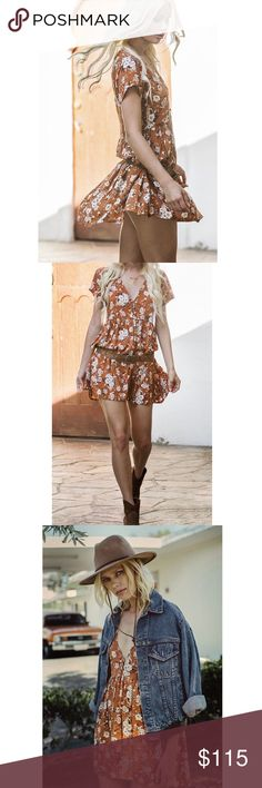 Spell & The Gypsy Dancer Baby Doll Spell & The Gypsy Gypsy Dancer Baby Doll Easy wear baby-doll dress in floral ochre tones. The Gypsy Dancer Baby Doll Dress in Maple is sure to be a fave new style, with capped sleeves and a flirty short hem. Wear it with sandals or heels or grunge it up with chunky boots & a black leather jacket.  SIZE & FIT DETAILS Model is wearing a size S Bust - 83cm Waist - 89cm Front Length - 86cm Back Length - 89cm Sleeve Length - 17cm  BRAND NWT! Spell & The Gypsy…