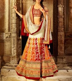 #Cream #Net #Embroidered #Lehenga #Set at #Indianroots #Diwali #Sale