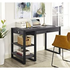 """48"""" Modern Charcoal Desk with Shelves & Built-In Plugs"""