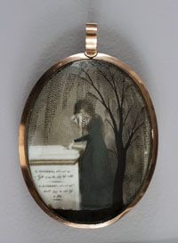"""Ludlow Mourning Locket (Obverse)  Possibly Ezra Ames  c. 1800  Watercolor on ivory, human hair, gold case; ht. 3 3/8"""" x w. 2 3/8""""  Albany Institute of History..."""