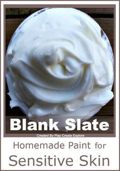 Homemade Paint for Sensitive Skin. A totally NEW recipe created by Play Create Explore. Great alternative to shaving cream paint used for bathtime play. This new paint is great for sensitive skin and other areas that shaving cream can irritate... especially little girls.