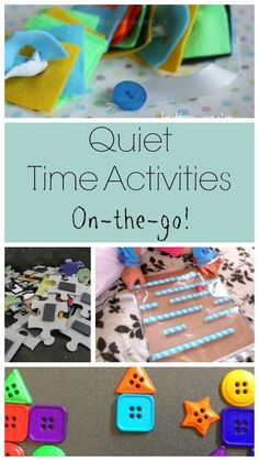 Quiet time activities for when you are on the go! Perfect busy bags and quiet boxes for little ones for appointments or in the car