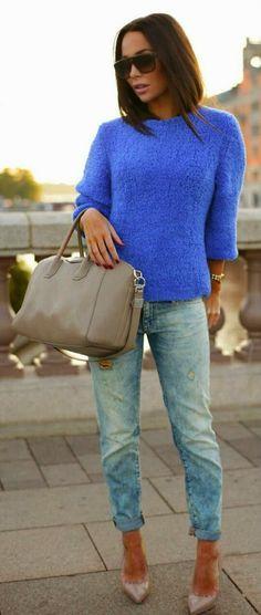 Fall Styles - True blue + denim + nude.