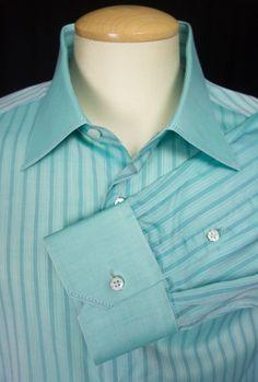 STEFANO RICCI Mens Dress Shirt 18.5 47 XXL Green Blue Stripe Long Sleeve Italy #StefanoRicci