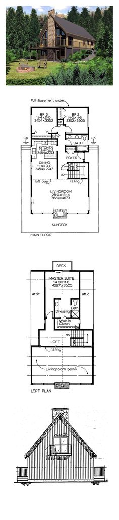 Hillside House Plan 90930 | Total Living Area: 1702 sq. ft., 3 bedrooms, 1 full bathroom and one 3/4 bath. #houseplan #hillsidehome