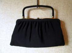 Clutch Bag Black Fabric Handbag top handle frame evening bag vintage 50s 60s Mad Men purse elegant high fashion