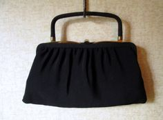 Clutch Bag Black Fabric Handbag top handle frame evening bag vintage 50s 60s Mad Men purse elegant high fashion