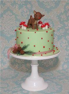 cakes decor - christmas - woodland themed rudolph cake