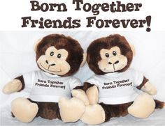 Born Together Friends Forever  Plush Monkey PairYOU CAN PERSONALIZE!