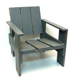 Wooden so called Crate-chair original painted model design Gerrit Rietveld 1934 with burning-stamp G.A.van de Groenekan the Netherlands ca.1970